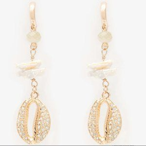 Express Cubic Zirconia Puka Shell Drop Earrings